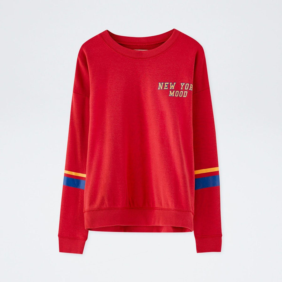 PULL&BEAR-women red text sweatshirt (462)