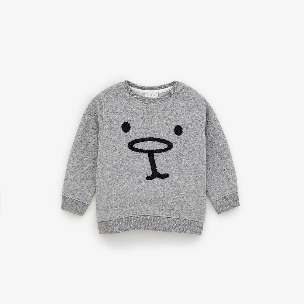 Kids Grey Marl Face Embroidered Sweatshirt (30103)