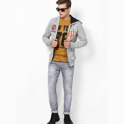 CELIO-grey marl florida hooded zipper
