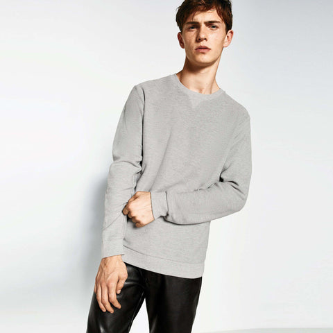 ZARA-'slim fit' grey marl basic Sweatshirt