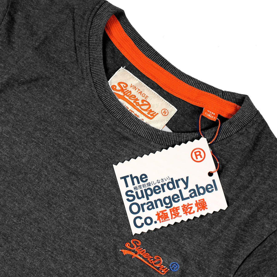 SUPERDRY-orange label vintage embroidery charcoal t-shirt
