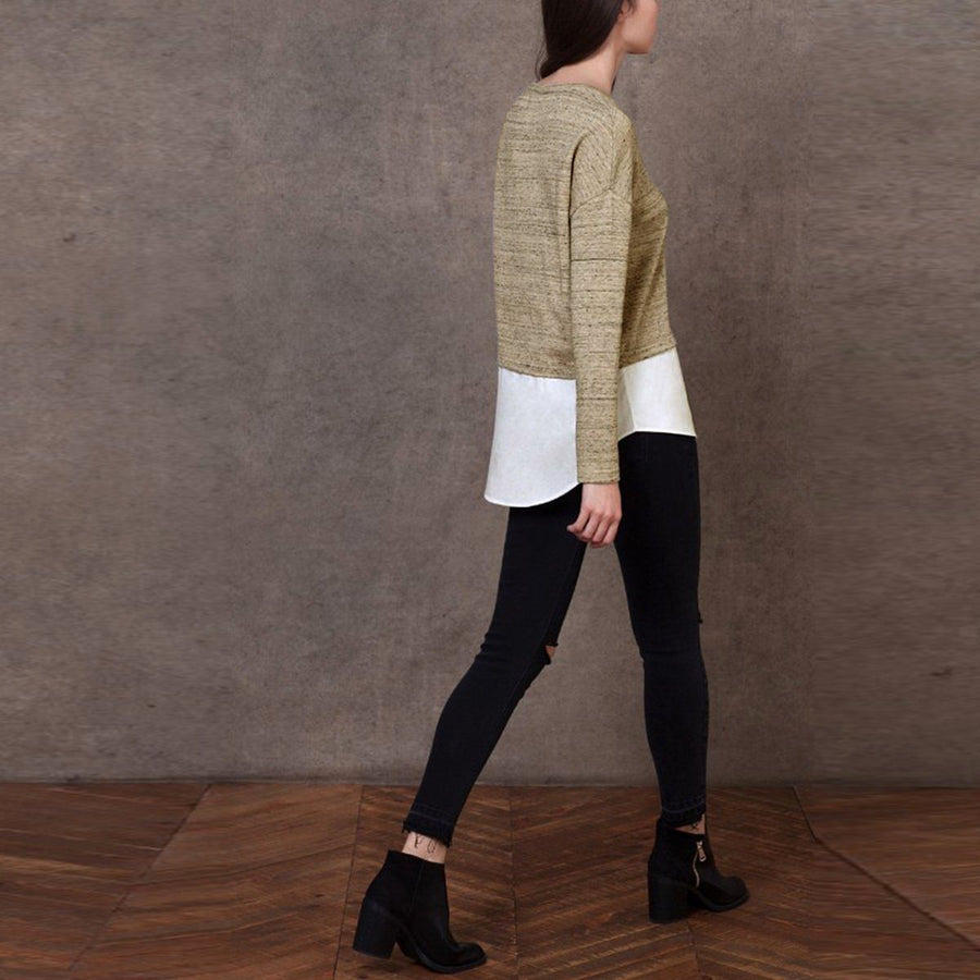 STRADIVARIUS-exclusive beige and white pullover sweatshirt