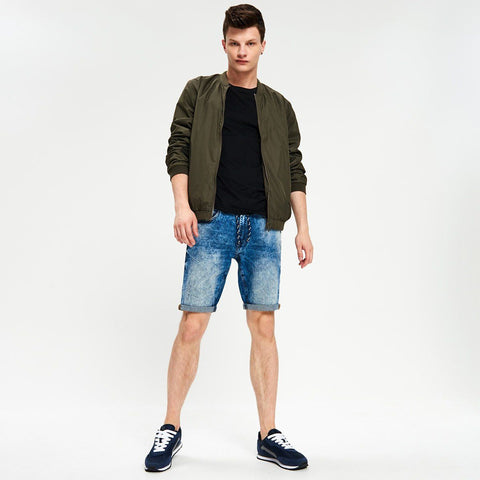 CROPP-random wash stretch denim short with roll-up leg