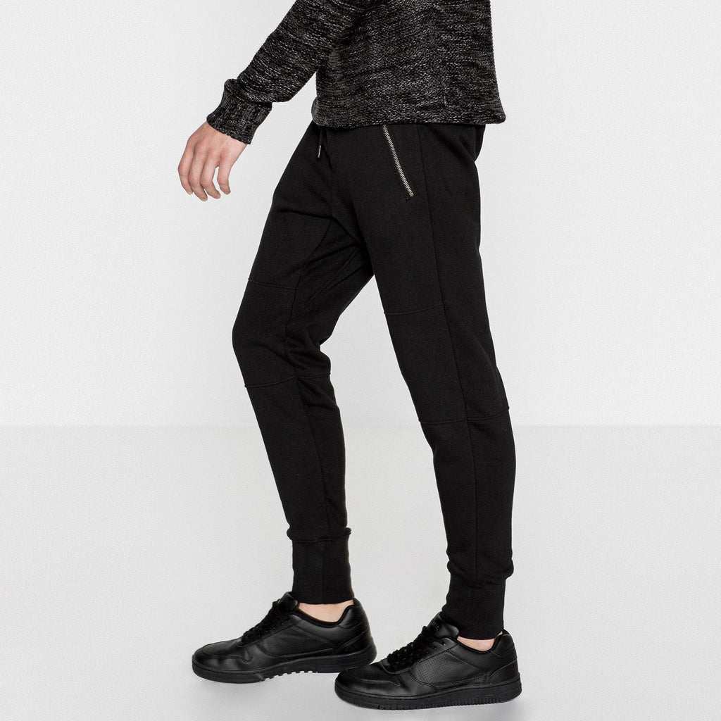 PULL&BEAR-black 'slim fit' jogger trouser with zips