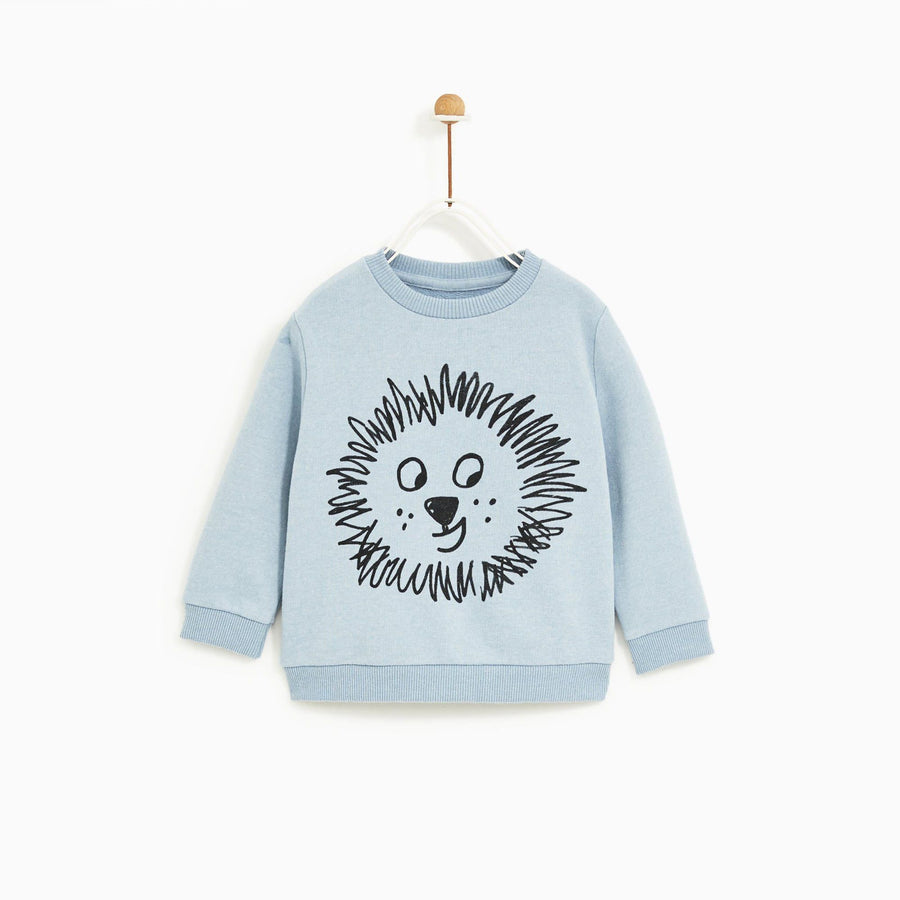 ZR-kids blue lion print sweatshirt (558)