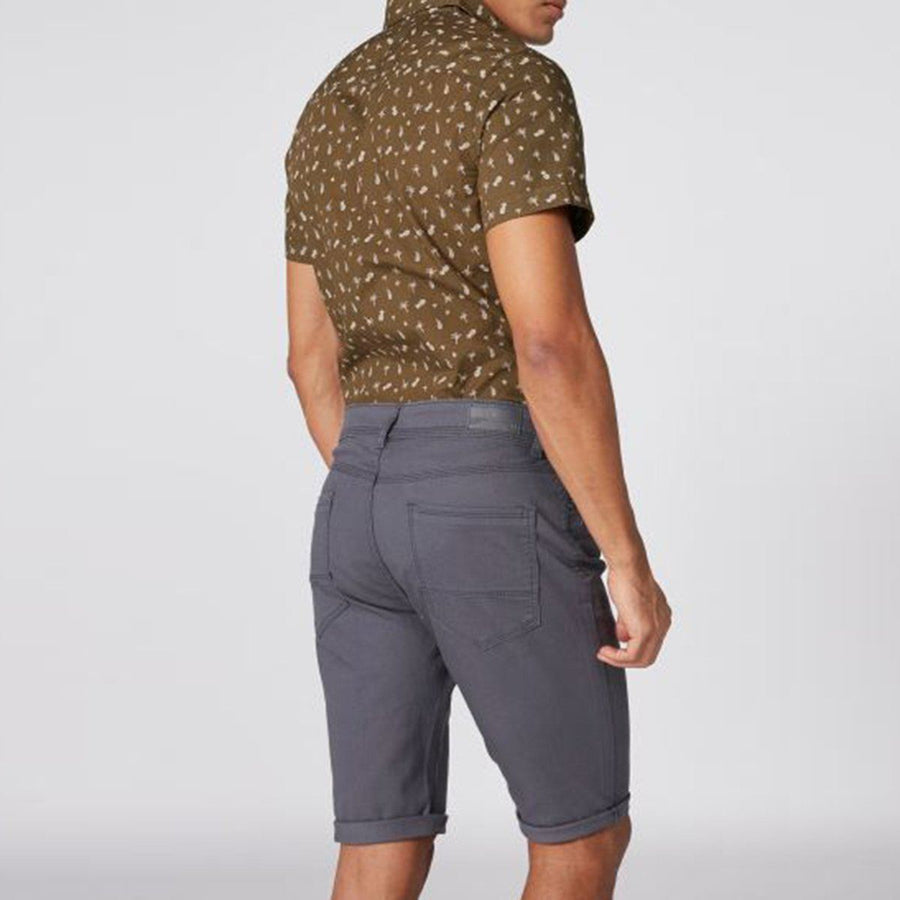 SPLASH-grey pocket detail cotton shorts with button closure