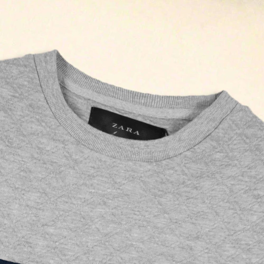 ZARA-grey quilted sweatshirt with blue panel