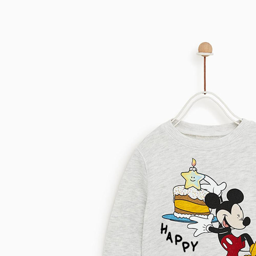 ZARA-kids gray marl happy birthday printed sweatshirt (617)