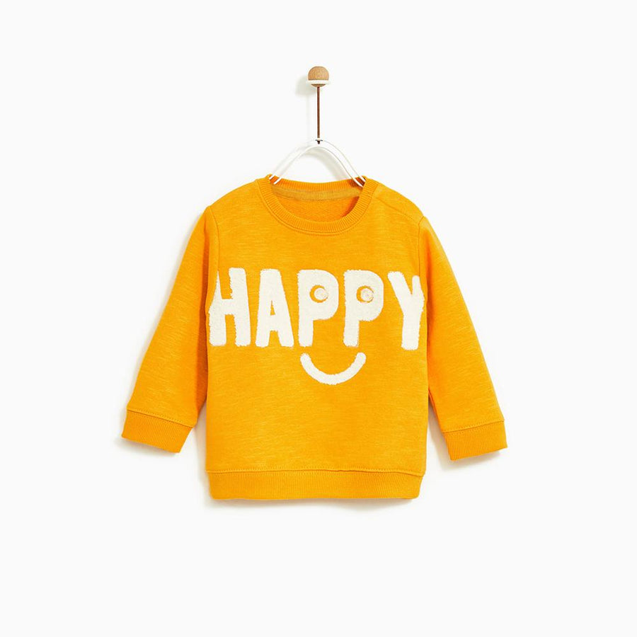 ZARA-kids ochre textured slogan applique sweatshirt (612)