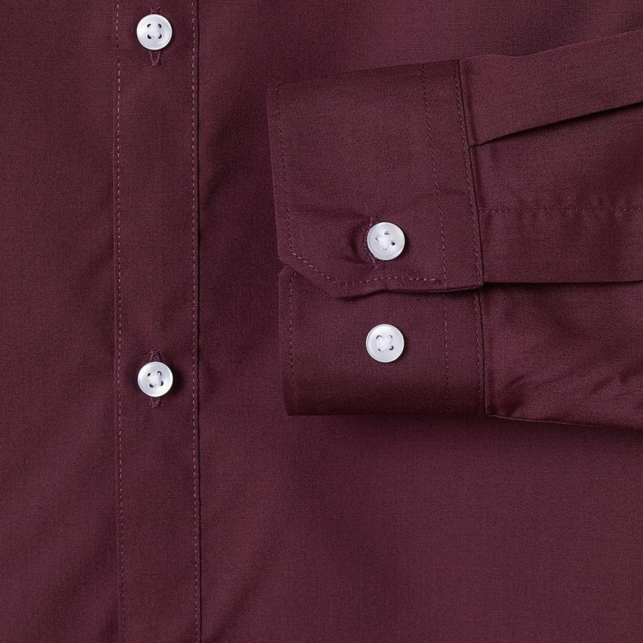 Burgundy 'slim fit' easy-iron shirt