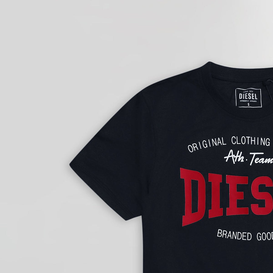 DIESEL-navy high density logo graphic t-shirt (935)