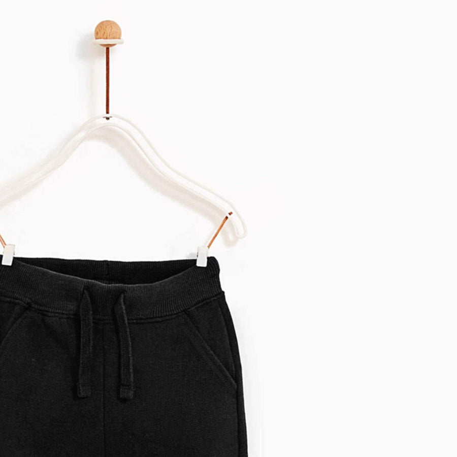 ZARA-kids black plush jogger trouser with knee patch (554)