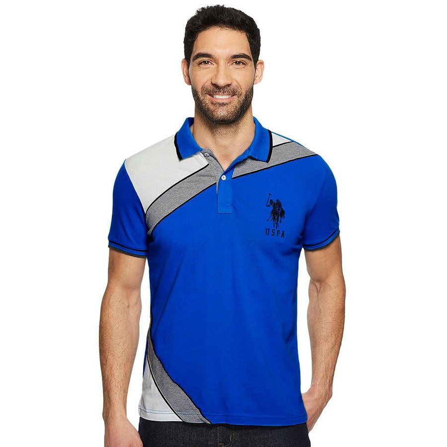 U.S P ASN-color block 'slim fit' stretch pique polo