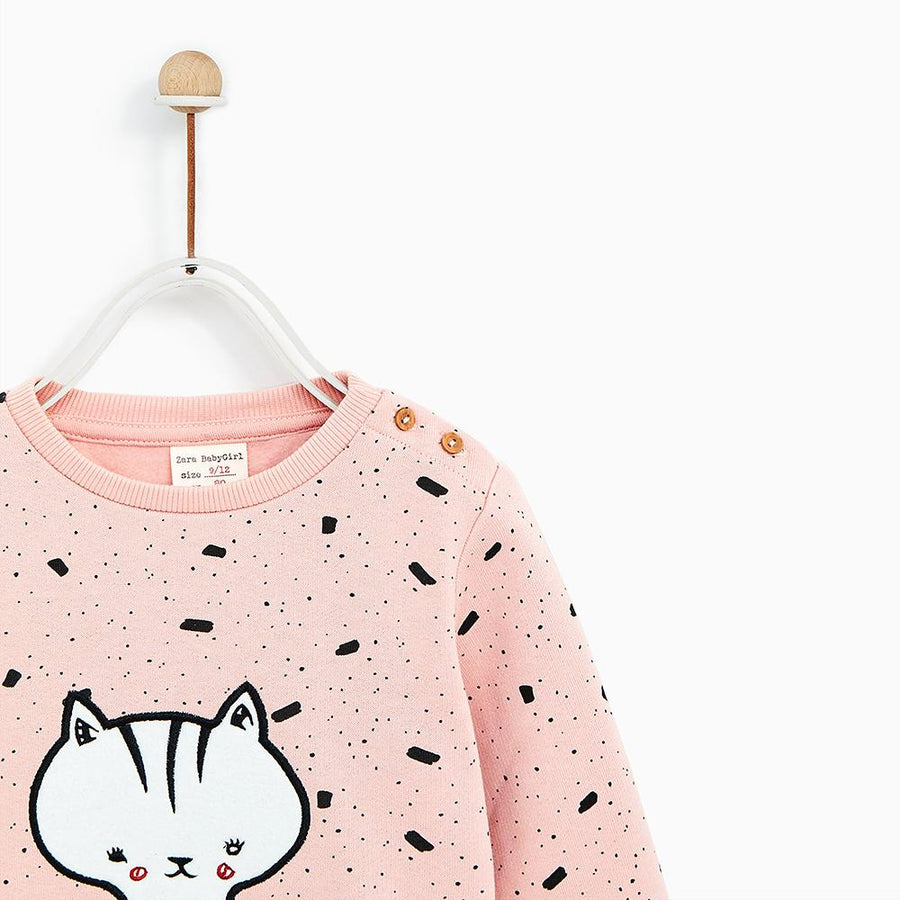 ZARA-kids pink sweatshirt with allover print (614)