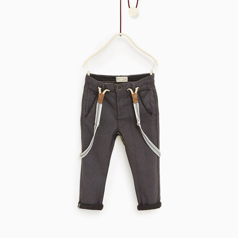 ZARA-boys textured weave 'slim fit' trouser with braces