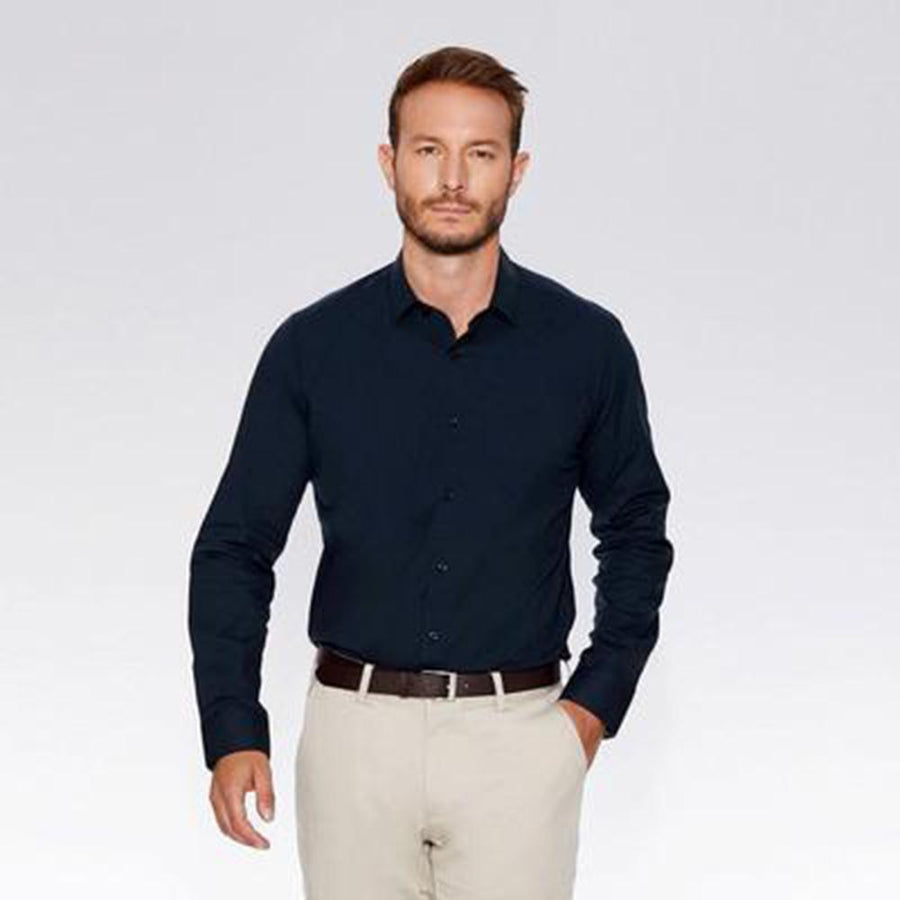 Exclusive navy 'slim fit' premium cotton shirt