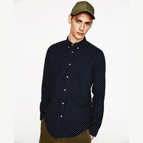 ZARA-exclusive 'super slim' navy printed oxford shirt