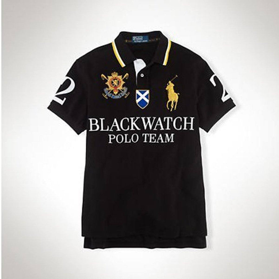 RALPH LAUREN-exclusive big pony black watch 'slim fit' embroidered polo