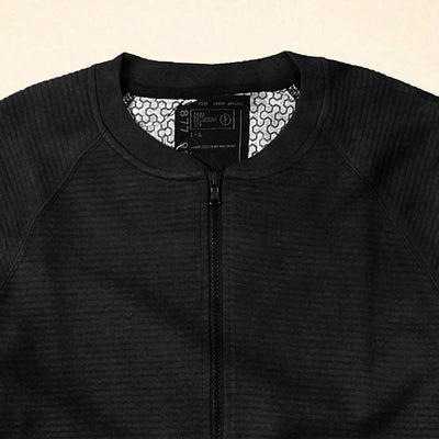 DISSIDENT-black quilted baseball jacket