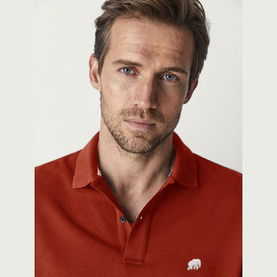 BANANA REPUBLIC-signature pique thredas red polo