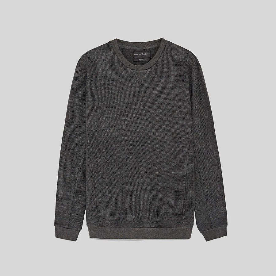 ZR-exclusive charcoal basic sweatshirt