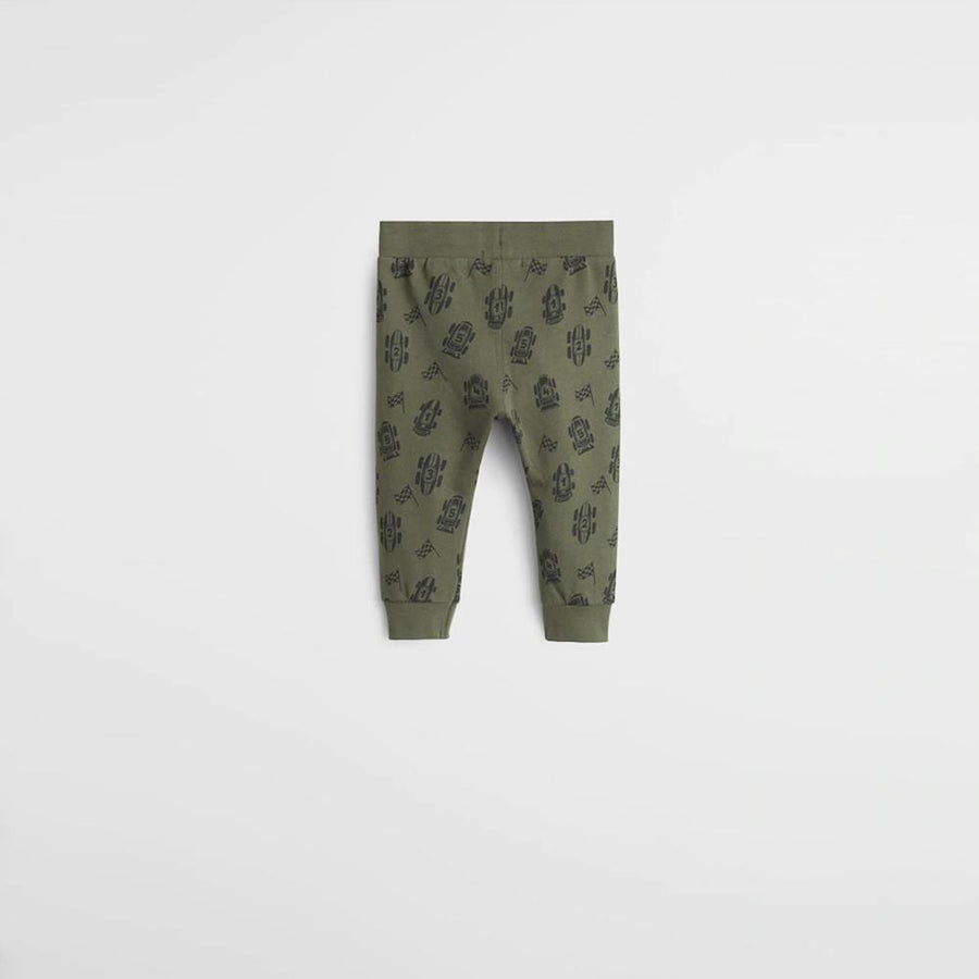 Mgo kids khaki organic cotton printed jogger trouser (1568)