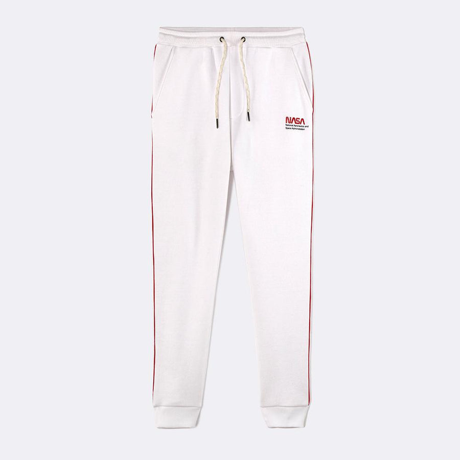 CELIO-white nasa cotton blend fleece jogger trouser (585)