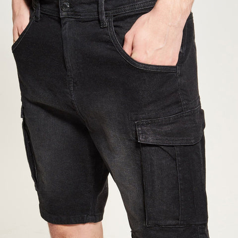 RESERVED-black 6 pocket stretch denim short (12 oz fabric)