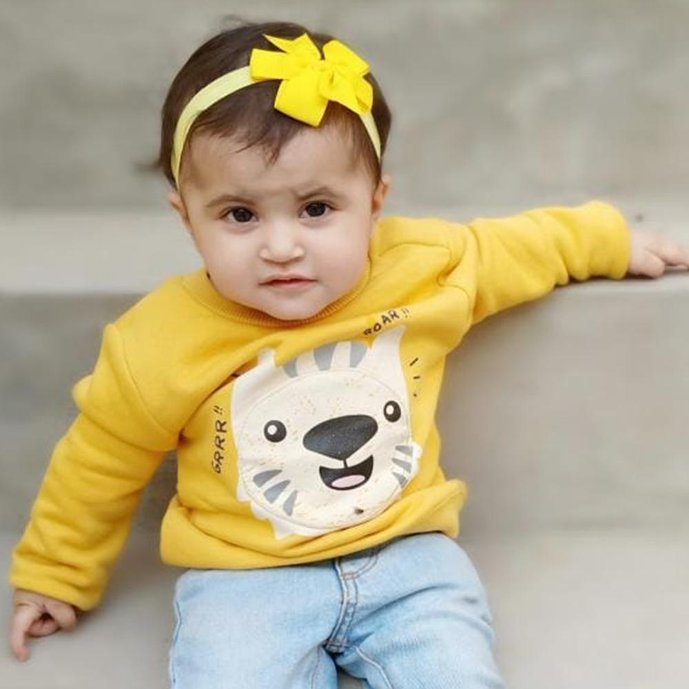 Kids Plush Jersey Sweatshirt With Tiger Print On Front (30058)