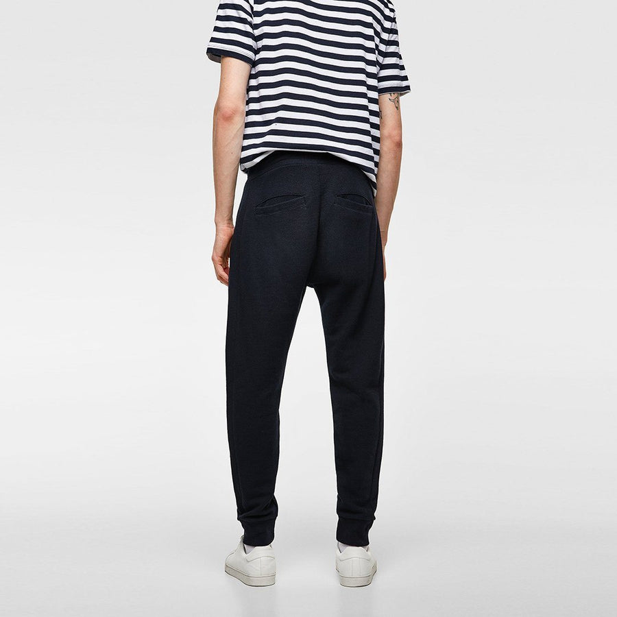 ZARA-exclusive navy 'slim fit' pique jogging trouser
