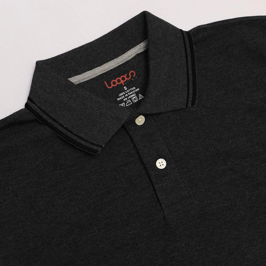 Loops charcoal 'regular fit' tipped collar polo (1030)