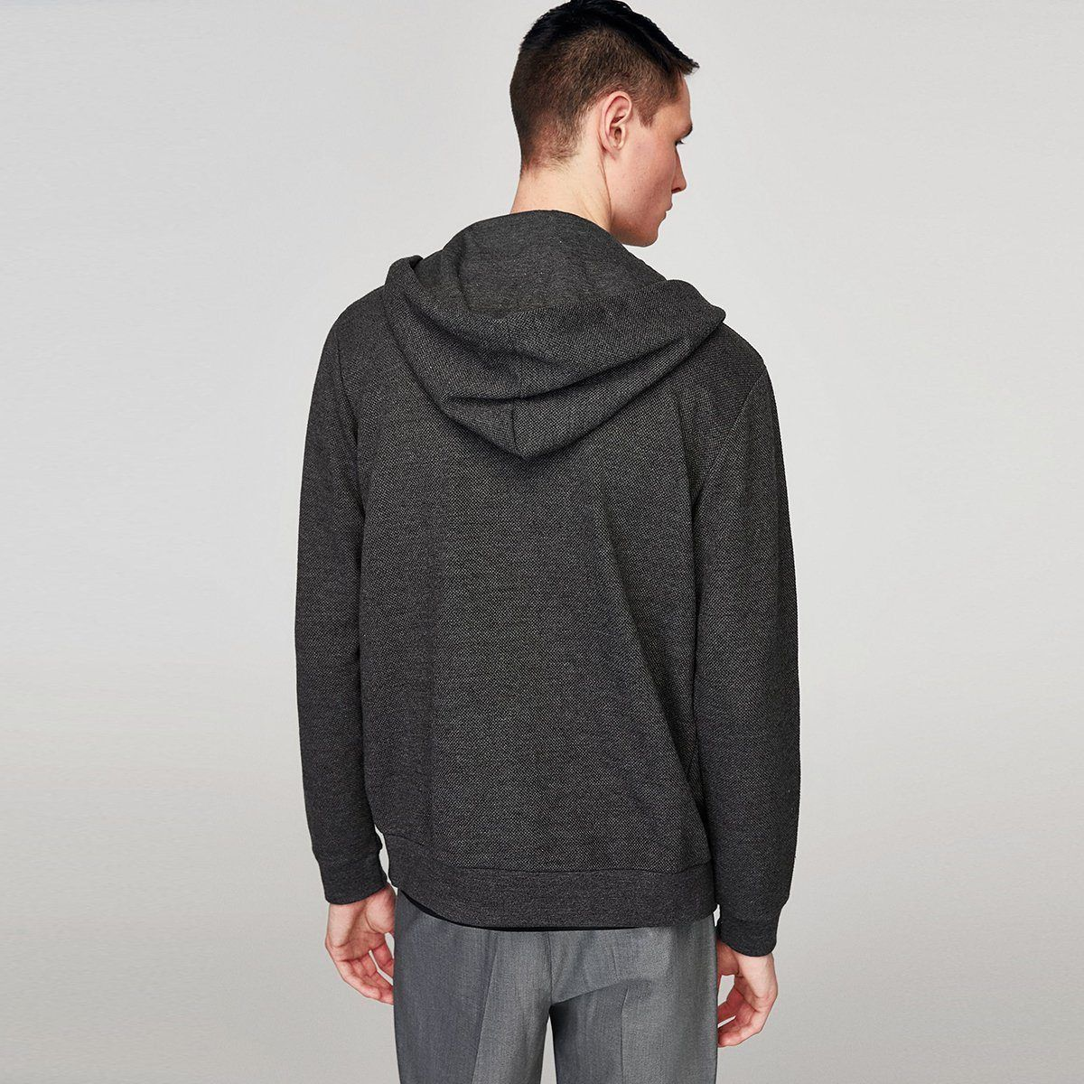 Zr exclusive anthracite grey 'slim fit' hooded sweatshirt (1491)