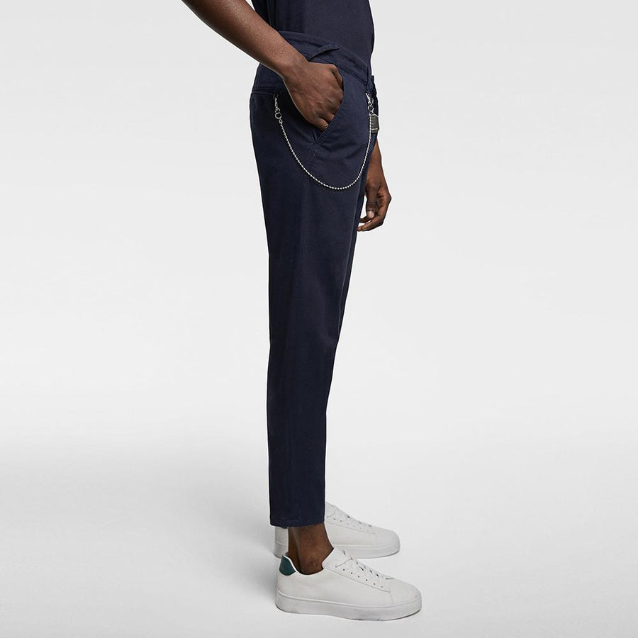 ZARA-navy 'carrot fit' chino with chin details
