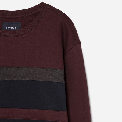 LEFTIES-burgundy striped sweatshirt
