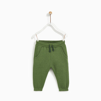 ZARA-kids green basic plush jogger trouser (512)