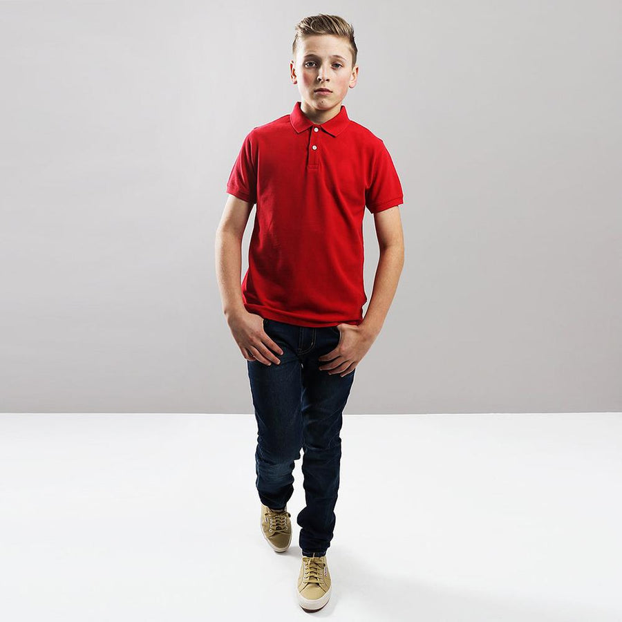 Boys red short sleeve polo (803)