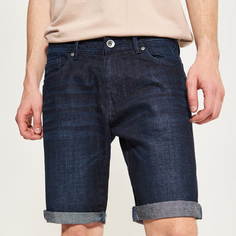RESERVED-raw dark blue short with frayed hem