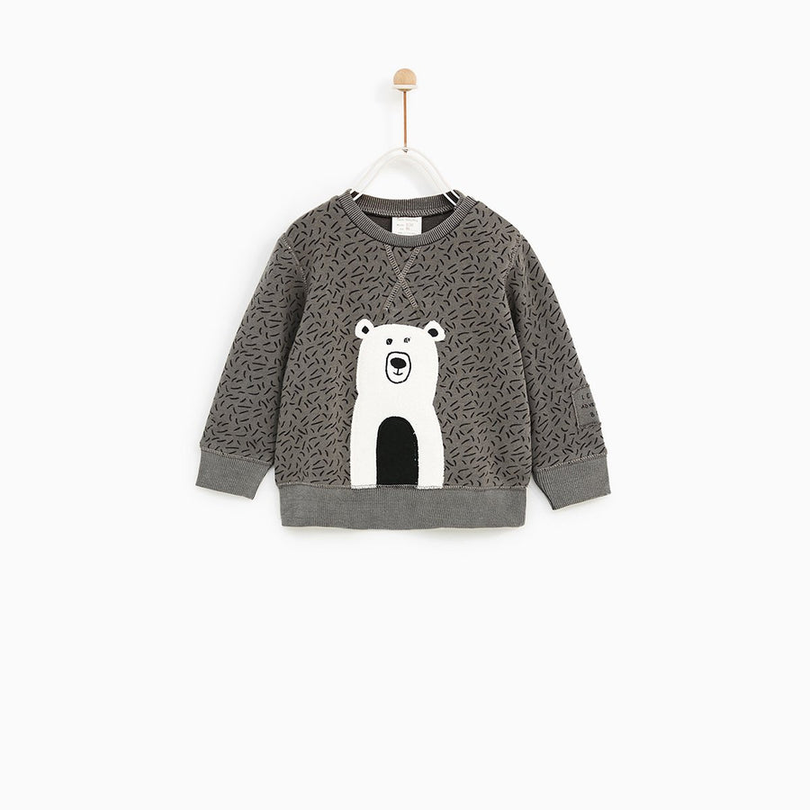 ZARA-boys stone positional animal sweatshirt