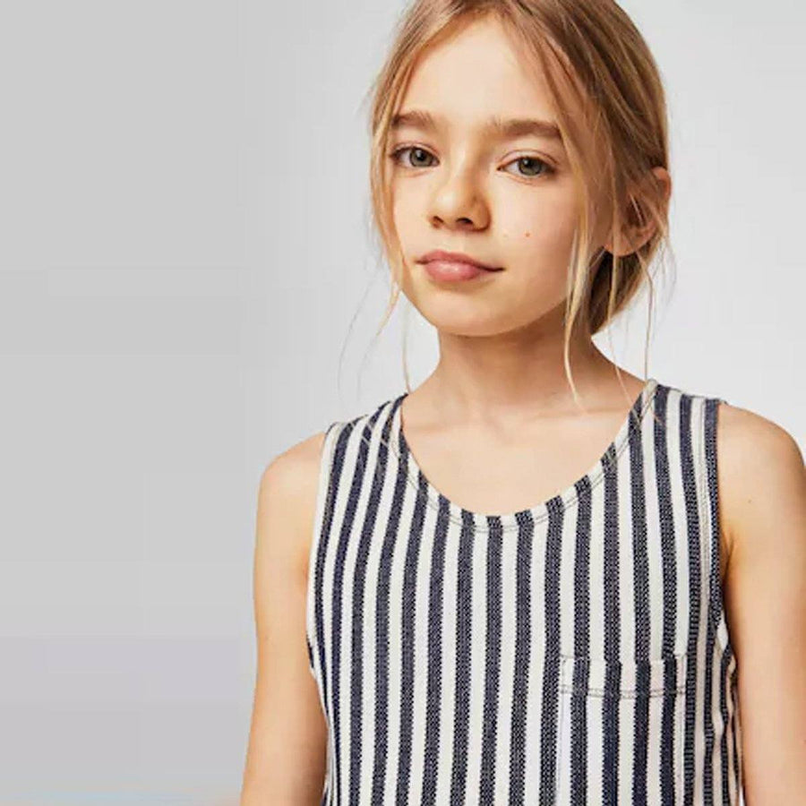 MANGO-girls stripy textured jumpsuit