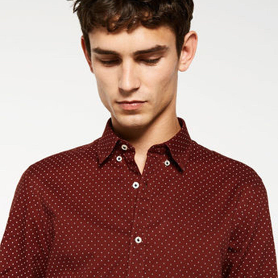 ZR-maroon 'super slim' oxford printed shirt
