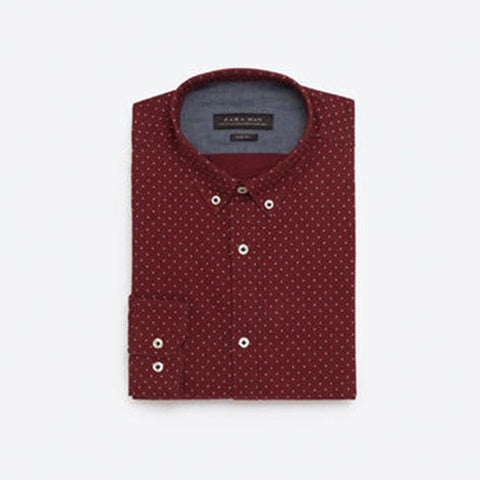 ZARA-exclusive 'slim fit' maroon printed oxford shirt