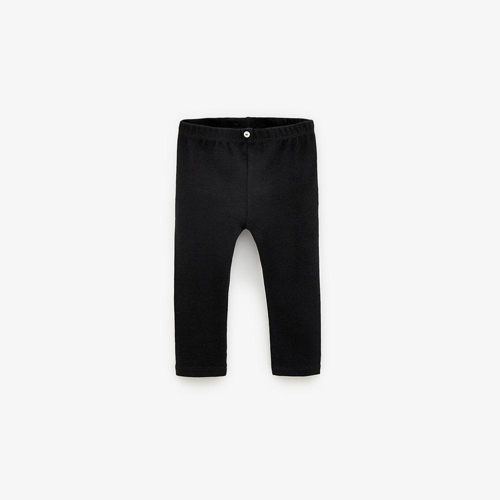 Kids Ribbed Black Winter Leggings with Back Pocket (30194)