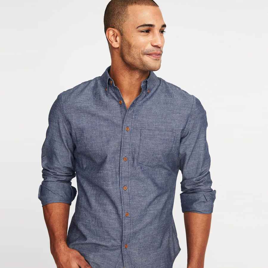 Old nvy linen blend chambray shirt (1448)