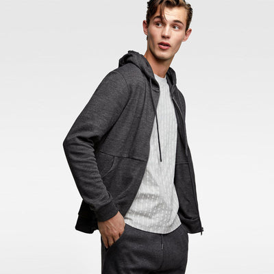 ZARA-anthracite grey interlock zip-up hoodie