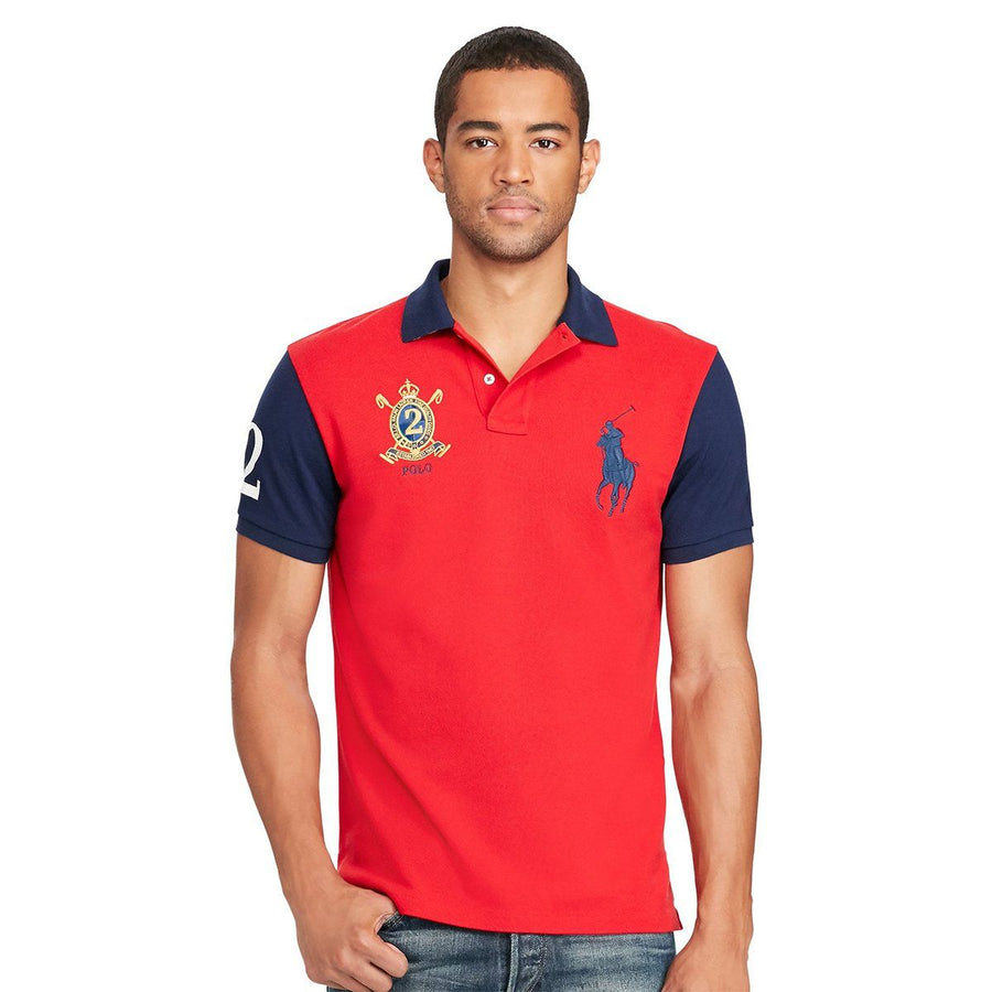 RALPH LAUREN-exclusive big pony red 'slim fit' embroidered polo