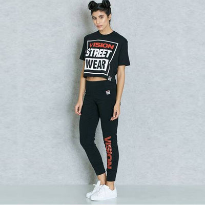 VISION STREET WEAR-black logo Leggings