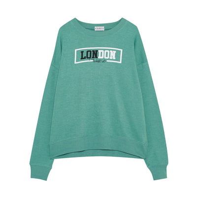 PULL&BEAR-women water green london slogan sweatshirt