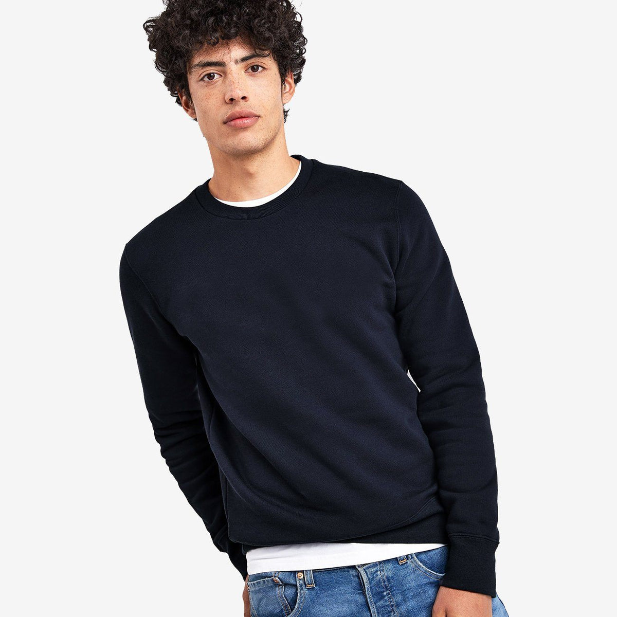 Men Navy Basic Brushed Fleece Sweatshirt (30170)
