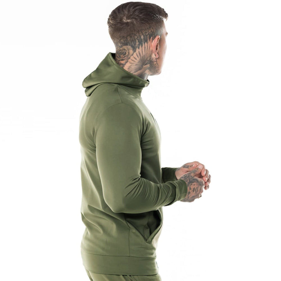 Exclusive olive 'muscle fit' core zip poly zipper