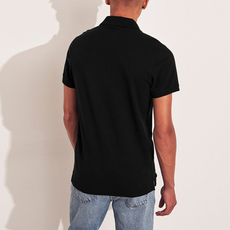 A&F double embroidered signature pique black polo (1051)